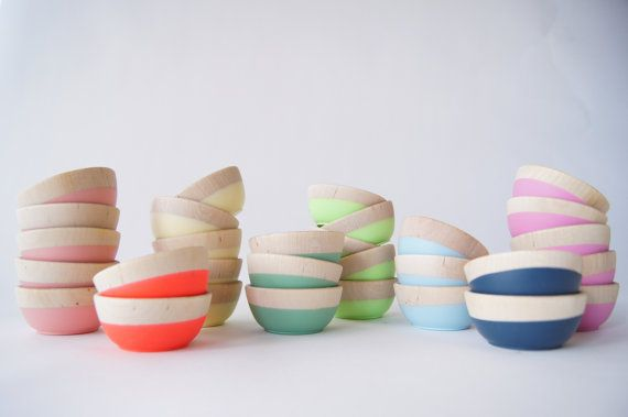 Wooden bowls + color equals fabulousness
